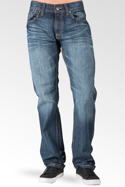 Hand Sanded Blue Relaxed Straight Fit Premium Denim Jeans Whiskering