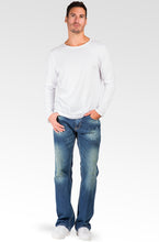Men's Relaxed Straight Blue Distressed Premium Denim Signature Stone Wash Jeans