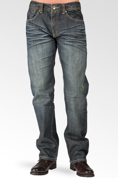Relaxed Straight Vintage Hand Rub Indigo Jeans With Artisan Scratching