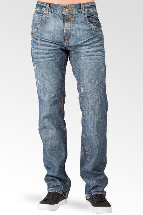 Relaxed Straight Medium Blue Distressed Premium Denim Jeans Zipper Trim Pocket