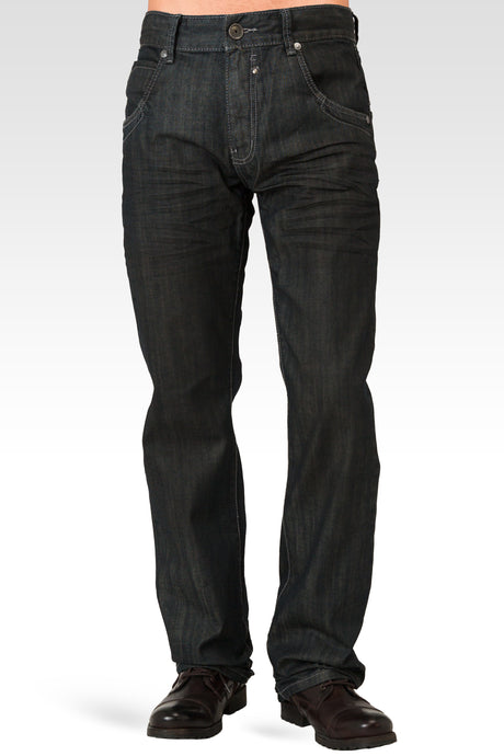 Men's Relaxed Straight Dark Blue Oil Stain Zipper Pocket Denim Jeans