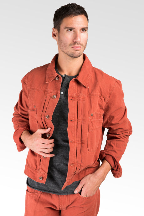 BBQ Red Canvas Trucker Jacket 100% Cotton Rugged & Stylish