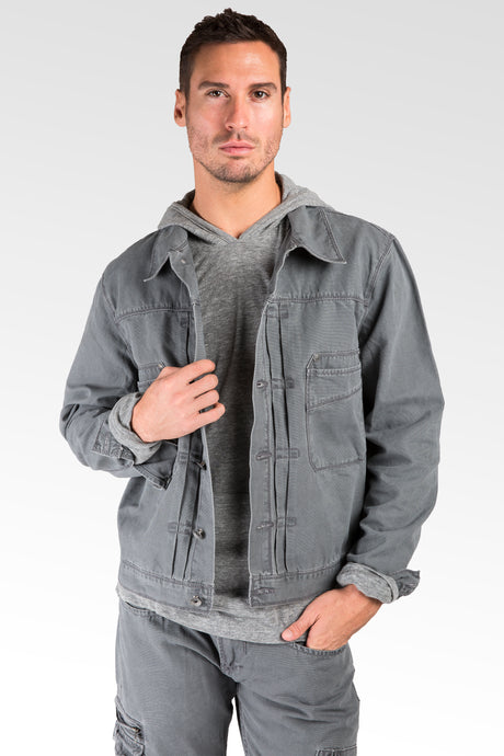 Charcoal Grey Heavy Stone Wash Canvas Trucker Jacket 100% Cotton Rugged & Stylish