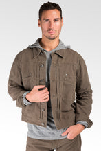 Fatigue Brown Heavy Wash Canvas Trucker Jacket 100% Cotton Rugged & Stylish