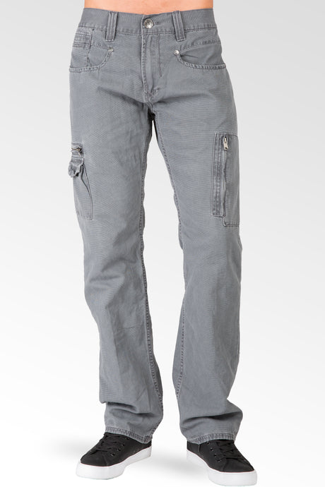 Charcoal Gray Relaxed Straight Premium Canvas Utility Jeans, Cargo Zipper Pockets & Stone Wash