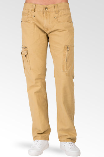 Tan Garment Washed Premium Canvas Relaxed Straight Utility Jeans Cargo Zipper Pocket