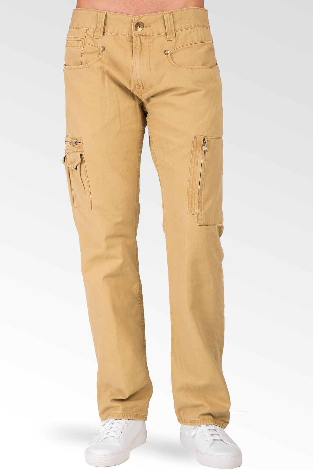 Relaxed Straight Tan Garment Washed Premium Canvas Utility Jeans Cargo Zipper Pockets
