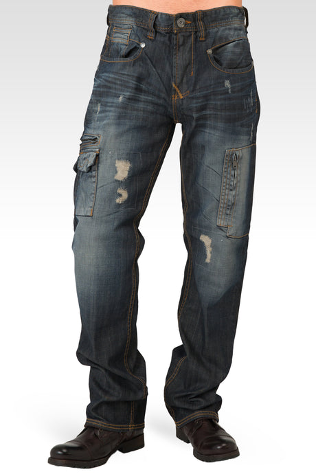 Men's Midrise Relaxed Fit Premium Denim Jeans with Utility Pockets