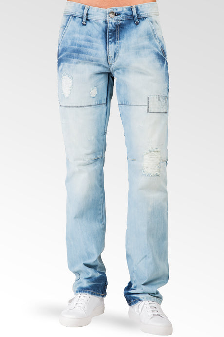 Slim Straight Blue Bleached Premium Denim 5 Pocket Jeans Destroyed & Repaired