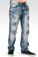 Mens Acid Washed Light Blue Oil Stain Premium Denim Jeans