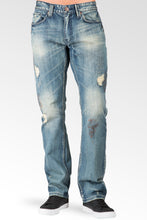 Slim Straight Premium Denim Rip & Tear Signature 5 Pocket Jeans Paint Smudging Sanding