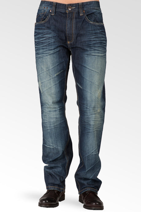 Slim Straight Dark Tinted Blue Hand Rub Premium Denim Signature 5 Pocket Jeans Wrinkle Whiskering