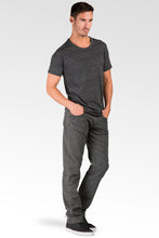 Slim Straight Premium Black Stretch Woven Vintage Wash Signature 5 pocket jeans Thin Textured Stripe