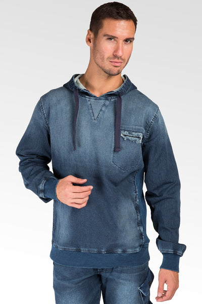 Knit Denim Pullover Vintage Hoody Shirts Side Rib Insert Rough Rugged