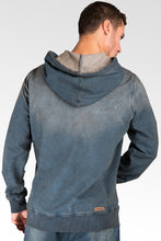 Dark Tainted Knit Denim Pullover Hoody Shirts Side Rib Inset Rough Rugged