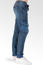 Ocean Blue Washed Premium Knit Denim Cargo Jogger Jeans Angled Side Cargo Pockets