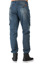 Premium Indigo Knit Denim Jogger Jeans Angled Side Pockets Oil Stain Tinted Wash