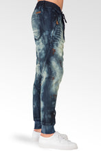Drop Crotch Premium Indigo Knit Denim Jogger Jeans Twister Tainted Vintage