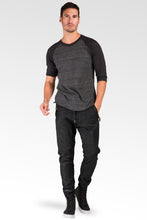 Dark Indigo Premium coated Knit Denim Jogger Jeans, Drop Crotch, Whiskering Wash