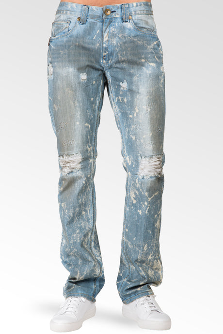 Slim Straight Distressed Bleached Blue Premium Denim Signature 5 Pocket Jeans Paint Splatter