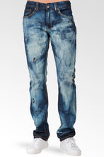 Slim Straight Dark Cloud Blue Premium Denim 5 Pocket Jeans Sanding Whisker Paint Splatter