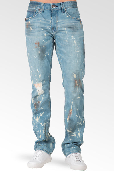 Slim Straight Leg Light Blue Premium Denim Jeans Paint Brush Bleach Spots