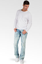 Slim Straight Leg Blue Lava Premium Denim Jeans Destroyed & Mended