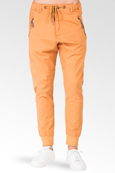 Drop Crotch Premium light Orange Stretch Twill Jogger Jeans Zipper Pockets