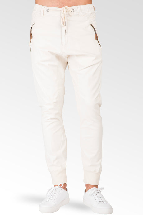 Relaxed Ecru Premium Stretch Twill Drop Crotch Jogger Jeans Zipper Pocket