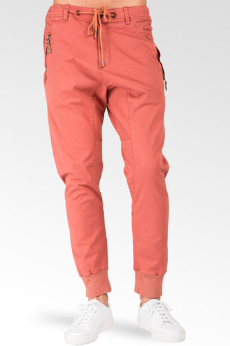 Drop Crotch Premium Rustic Red Stretch Twill Jogger Jeans Zipper Pocket