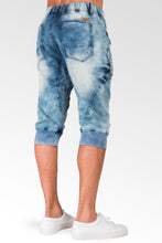 "Bleached Cloud Blue Premium Knit Denim Zip Pocket 18"" Jogger Capri Rib Bottom"