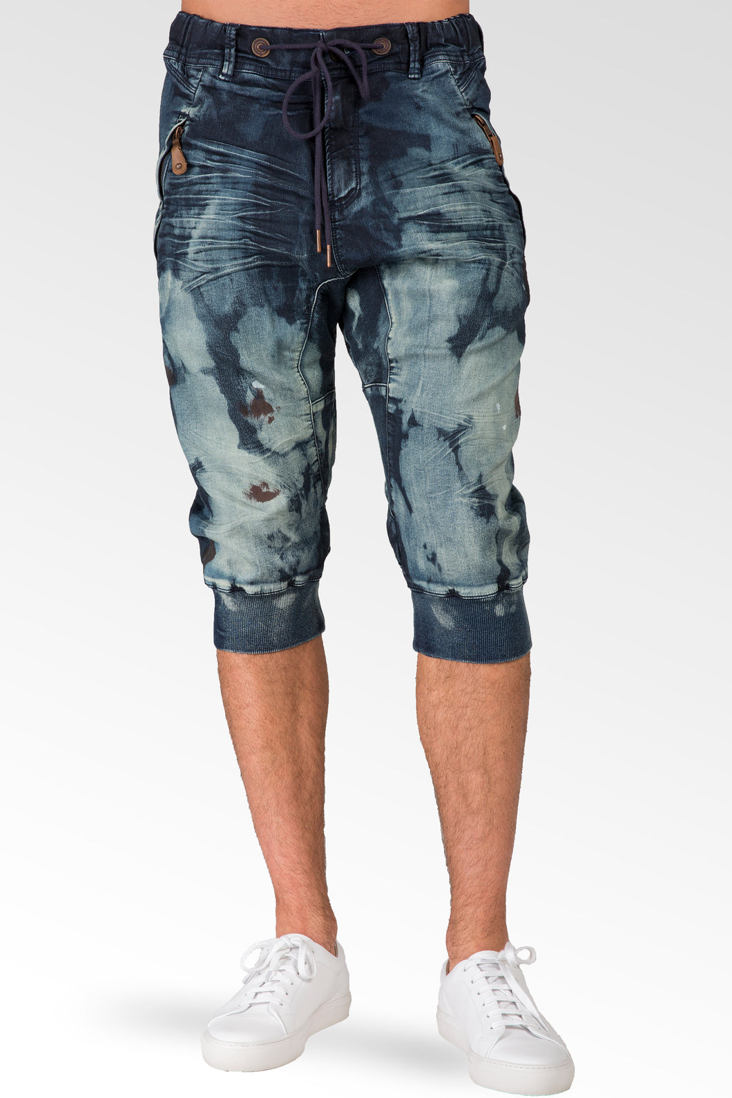 Dark Blue Clouded Wash Premium Knit Denim Jogger Capri Short, Rib Bottom 3D Whiskering 18