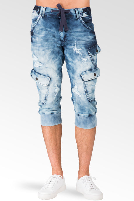 Cargo Pocket Premium Knit Denim Jogger Capri Shorts Distressed Cloud Bleach 18