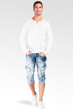 "Cargo Pocket Premium Knit Denim Jogger Capri Shorts Distressed Cloud Bleach 18"" Inseam"
