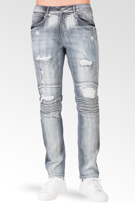 Slim Tapered Leg Premium Knit Denim Destroyed & Mended Moto Jeans Bleached Gray