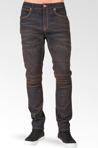 Slim Tapered Leg Premium Stretch Denim Moto Jeans Copper Tainted Wash