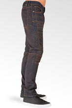 Slim Tapered Leg Premium Knit Denim Moto Jeans Copper Tainted Wash