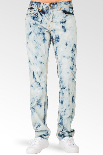 Slim Straight Abstract Bleached Wash Premium Denim Signature 5 Pocket Jeans
