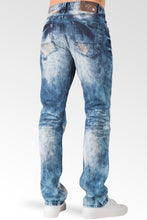 Slim Straight Medium Blue Premium Denim Signature 5 Pocket Jeans Bleached Prism Wash