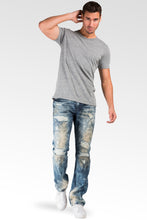 Slim Straight Destroyed & Mended Premium Denim 5 Pocket Jeans Bleach Tinted Wash