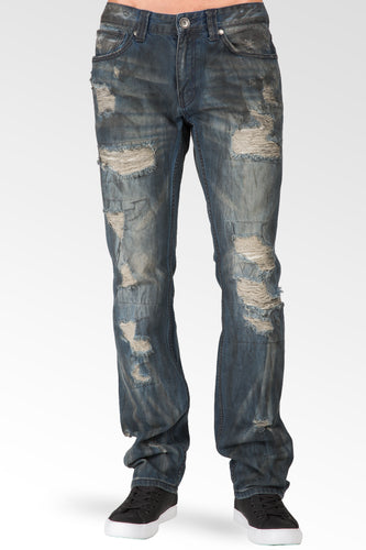 Slim Straight Premium Denim Black Paint Brushed Dark Blue Jeans Destroyed & Mended