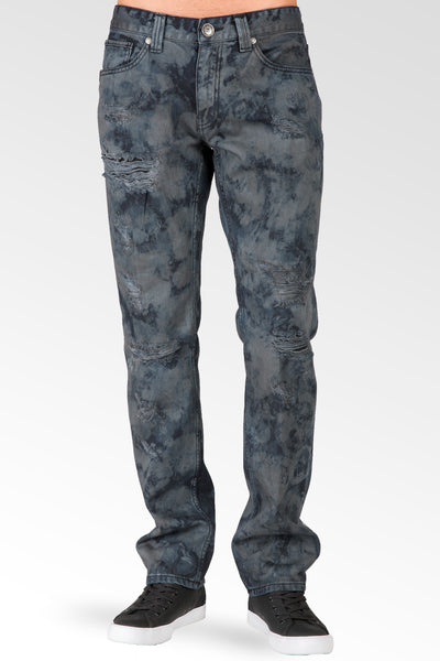 Slim Straight Midnight Blue Premium Denim Signature 5 Pocket Jeans Distressed Bleach Spotting