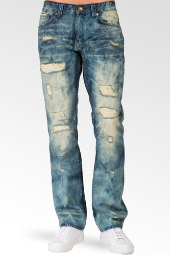 Slim Straight Khaki Tint Destroyed & Mended Premium Denim Signature 5 Pocket Jeans