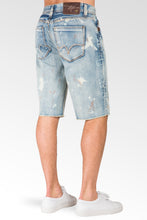 "Relaxed Midrise Bleach Blue Cut Off Premium Denim Shorts 13"" Inseam paint splatter"