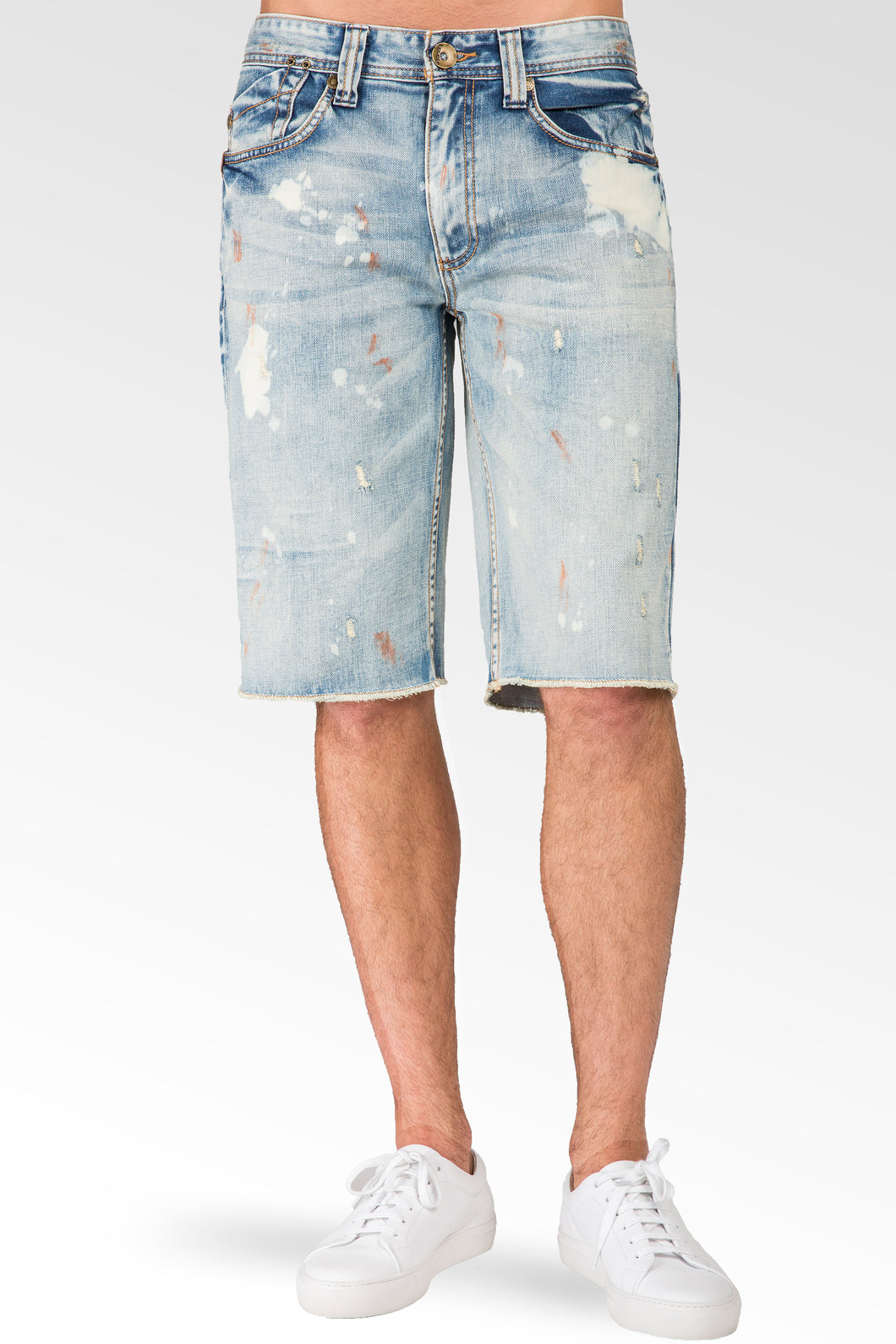 Relaxed Midrise Cut Off Jean Shorts Bleach Blue Smudging 13