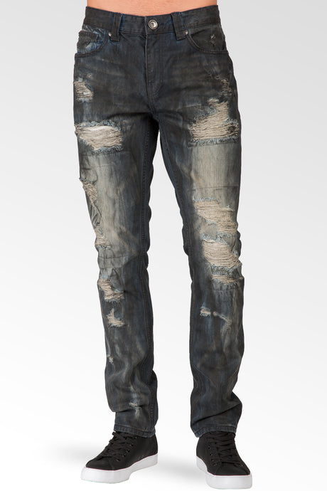 Men's Low Rise Slim Straight Dark Blue Premium Black Paint Brushed Jeans