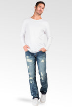 Slim Straight Destroyed Medium Blue Premium Denim Signature 5 Pocket Jeans Bleach Splatter