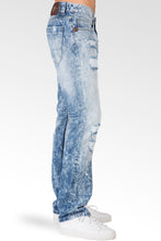 Slim Straight Cloud Blue Premium Denim Signature 5 Pocket Jeans Destroyed & Mended