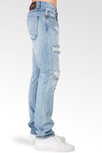 Distressed Powder Blue Slim Tapered Leg Premium Denim Jeans, signature 5 pocket with Ripped Repaired