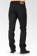 Slim Tapered Leg Overdyed Black Premium Denim Signature 5 Pocket Jean Mended Broken Holes